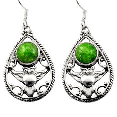 Clearance Sale- 925 sterling silver 6.32cts natural green chrome diopside owl earrings d40791