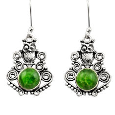 Clearance Sale- 925 sterling silver 6.56cts natural green chrome diopside owl earrings d40793