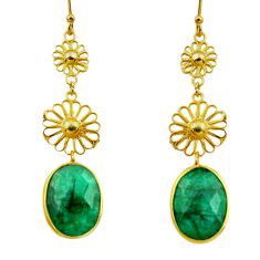 925 sterling silver 19.98cts natural green emerald 14k gold earrings r33324