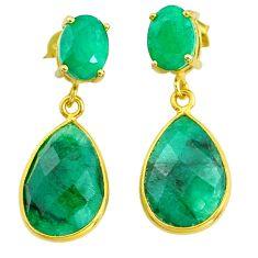 Handmade 14.01cts natural green emerald 14k gold dangle earrings t16380