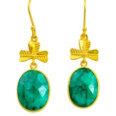 16.49cts natural green emerald 14k gold dangle earrings t16400