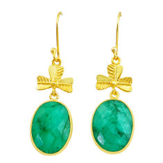 Handmade 18.00cts natural green emerald 14k gold dangle earrings t16438