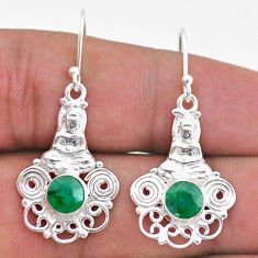 925 sterling silver 2.33cts natural green emerald buddha charm earrings t47060