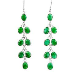 Clearance Sale- 925 sterling silver 23.77cts natural green emerald chandelier earrings d39844