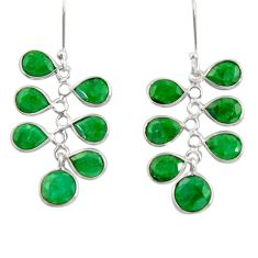 925 sterling silver 15.34cts natural green emerald chandelier earrings d39847