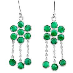 925 sterling silver 9.03cts natural green emerald chandelier earrings t38907