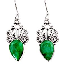 925 sterling silver 8.26cts natural green emerald dangle earrings jewelry d40884