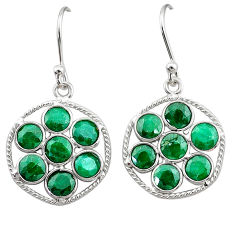 925 sterling silver 7.68cts natural green emerald dangle earrings jewelry t12467