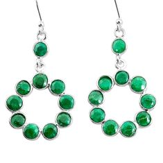 925 sterling silver 9.20cts natural green emerald dangle earrings jewelry t12512