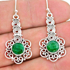 925 sterling silver 2.12cts natural green emerald dangle earrings jewelry t28232