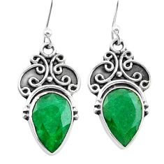 925 silver 8.49cts natural green emerald dangle earrings jewelry t34287