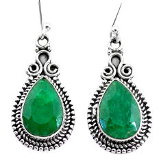 925 silver 9.52cts natural green emerald dangle earrings jewelry t34356