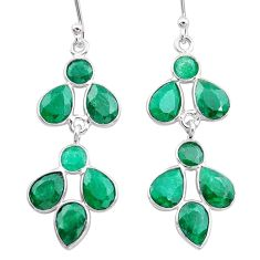 925 sterling silver 11.45cts natural green emerald dangle earrings t12532