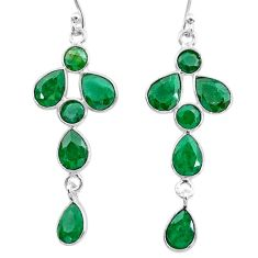 925 sterling silver 10.11cts natural green emerald dangle earrings t12570