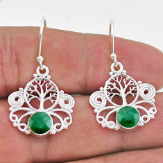 925 sterling silver 2.17cts natural green emerald tree of life earrings t47047