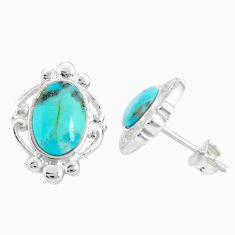 925 sterling silver 6.03cts natural green kingman turquoise stud earrings c10587