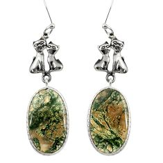 925 sterling silver 18.60cts natural green moss agate two cats earrings d39649