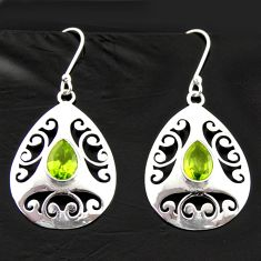 925 sterling silver 5.52cts natural green peridot dangle earrings jewelry d40031