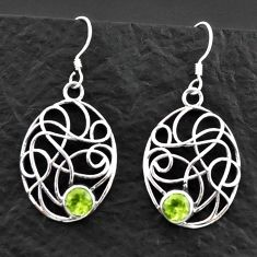 925 sterling silver 1.81cts natural green peridot dangle earrings jewelry d40613