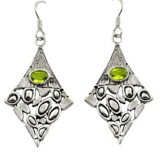 925 sterling silver 3.33cts natural green peridot dangle earrings jewelry d47140