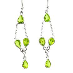 925 sterling silver 6.33cts natural green peridot dangle earrings jewelry r33132