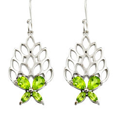 925 sterling silver 6.89cts natural green peridot dangle earrings jewelry r36724