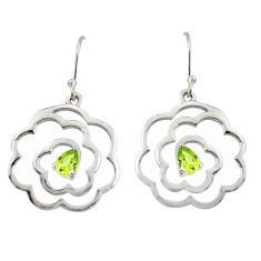 925 sterling silver 2.26cts natural green peridot dangle earrings jewelry r36848