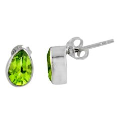 925 sterling silver 3.83cts natural green peridot dangle earrings jewelry r56535