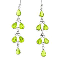 925 sterling silver 10.09cts natural green peridot dangle earrings r33124