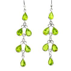 925 sterling silver 10.09cts natural green peridot dangle earrings r33128