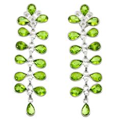 925 sterling silver 14.79cts natural green peridot dangle earrings r33153