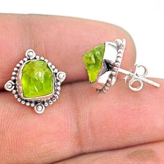 925 sterling silver 7.42cts natural green peridot rough dangle earrings r75104