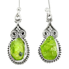 925 sterling silver 8.56cts natural green peridot rough dangle earrings r75164