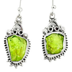 925 sterling silver 8.80cts natural green peridot rough dangle earrings r75168