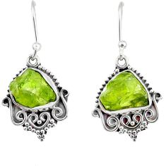 925 sterling silver 9.42cts natural green peridot rough dangle earrings r75176