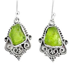 925 sterling silver 9.39cts natural green peridot rough dangle earrings r75190