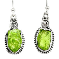 925 sterling silver 8.56cts natural green peridot rough dangle earrings r75194