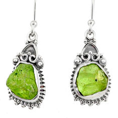 925 sterling silver 9.00cts natural green peridot rough dangle earrings r75199