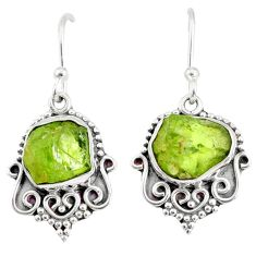 925 sterling silver 9.83cts natural green peridot rough dangle earrings r75204