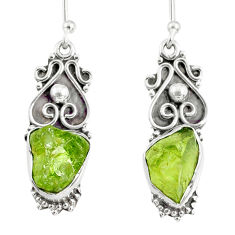 925 sterling silver 9.16cts natural green peridot rough dangle earrings r75214