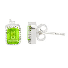 925 sterling silver 3.21cts natural green peridot stud earrings jewelry r77096