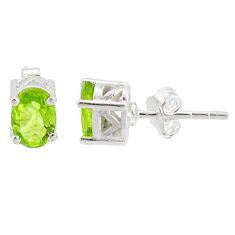 925 sterling silver 3.41cts natural green peridot stud earrings jewelry r87431