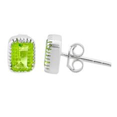 925 sterling silver 3.19cts natural green peridot stud earrings jewelry t30888
