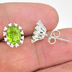 925 sterling silver 3.84cts natural green peridot stud earrings jewelry t4484