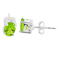 925 sterling silver 3.06cts natural green peridot stud earrings jewelry t4843