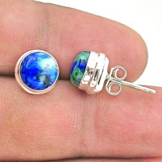 925 sterling silver 6.26cts natural green turquoise azurite stud earrings t37628