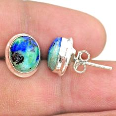 925 sterling silver 8.06cts natural green turquoise azurite stud earrings t37631