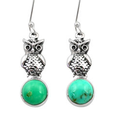 925 sterling silver 6.40cts natural green turquoise tibetan owl earrings d40526