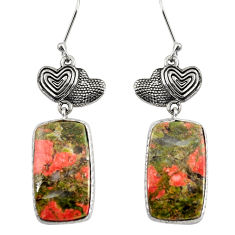 Clearance Sale- 925 sterling silver 22.87cts natural green unakite couple hearts earrings d39644