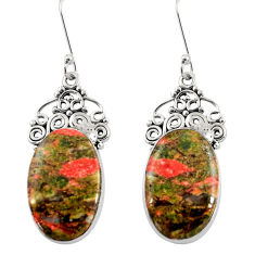 Clearance Sale- 925 sterling silver 19.72cts natural green unakite dangle earrings d39613